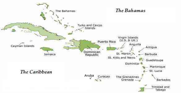 Map of the Caribbean and Bahamas